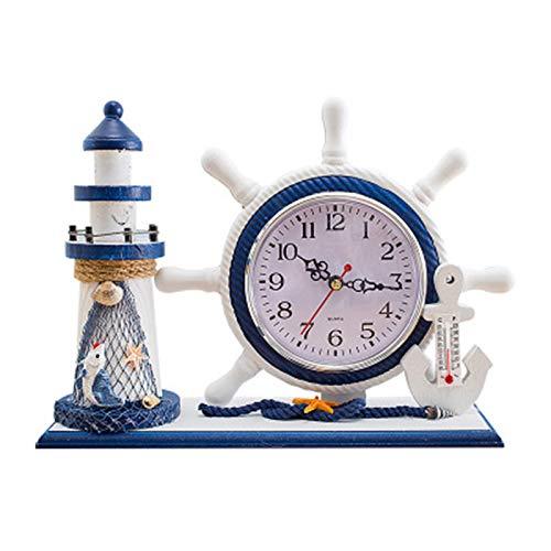 Mily MILYCreatieve klok kleine klok woonkamer slaapkamer met pen houder bureau klok hout multifunctionele klok mute klok 27 * 20.5 * 8.5cm Kleur foto