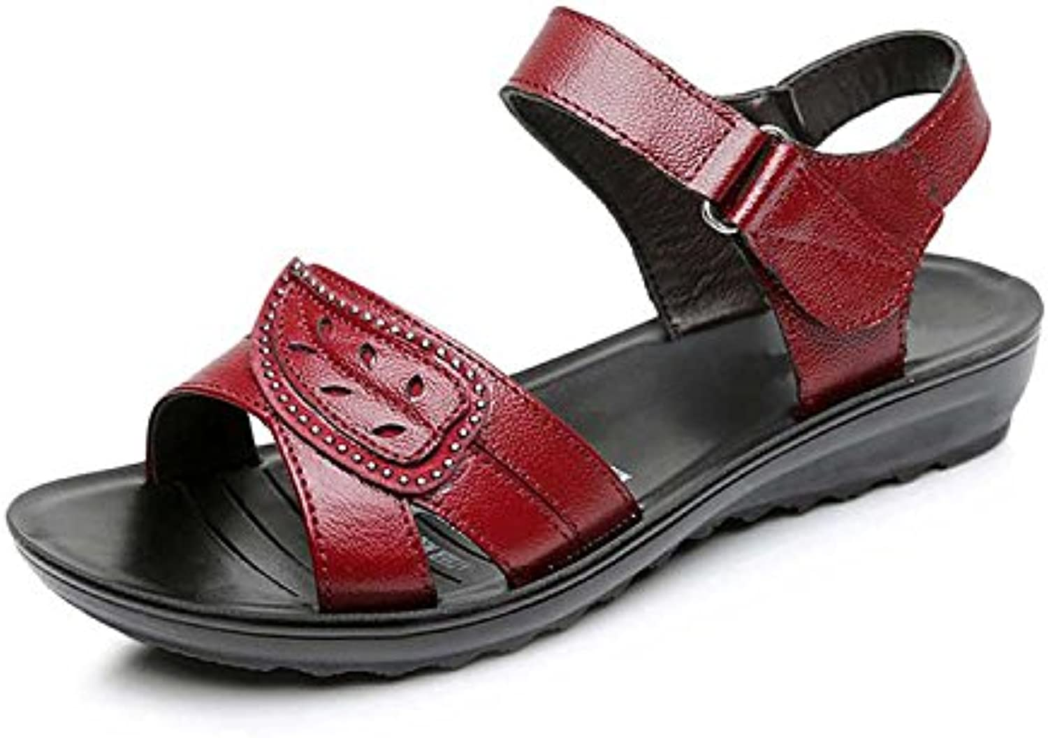 Dahanyi Stylish Summer New Genuine Leather Wedges Sandals Women shoes Black Red color 35-41 Size Back Strap