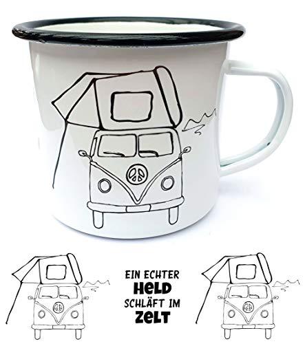 Kilala Emaille Camping Tasse Dachzelt Bulli lustiger Spruch Blech Becher Geschenk Retro Vintage Bus Geschirr schwarz/weiß (2)
