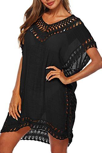 Cover Ups for Swimwear Women Mesh Swimsuits Cover Ups Crochet Chiffon Tassel Bathing Suit Bikini Swim Wear Beach Coverups Dress (Black-Plus)