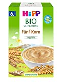 Hipp Bio-Getreide-Breie ungesüßt, Fünf Korn, 6er Pack (6 x 200 g)