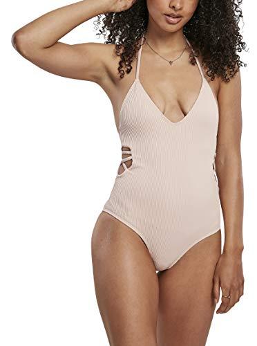Urban Classics Badeanzug Ladies Rib Swimsuit Traje de baño de una Sola Pieza, Rosa, L para Mujer