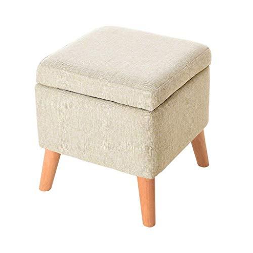 Tao Fotpall byt skopall förvaringsbox kub puffstol fyrkantig med lock fotstöd trä för vardagsrum hall 40 x 40 x 42 cm (färg: A)
