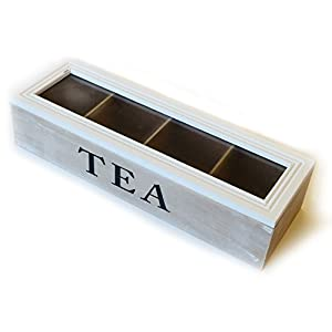 Boîte à thé 4compartiments 34x 11x 8cm | Boîte de rangement pour sachets de thé