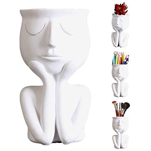 Scultura Viso Vaso In Resina Statua Vaso Faccia Succulente Cactus Pot Desktop Vaso Vaso Da Fiori Con Testa Design Vaso Da Fiori Scultura Vintage Per Decorazione Domestica Giardino Bianca 15 x 8.5 cm