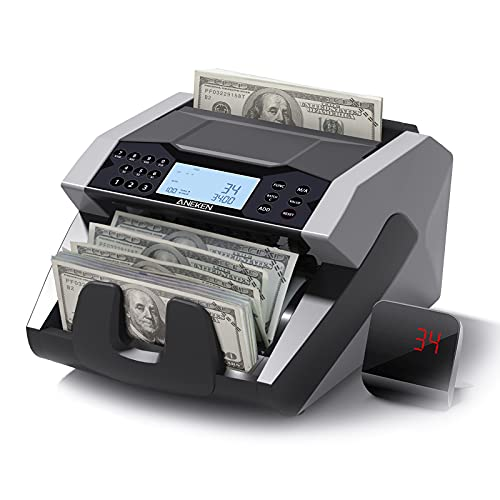 Aneken Money Counter Machine with Count Value of Bills, UV/MG/IR Counterfeit Detection Bill Counter - Cash Counter with LCD Display, 5 Modes...