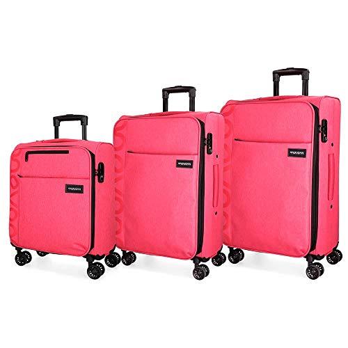 Movom Oslo Juego de maletas Rosa 55/69/79 cms Blanda Poliéster Cierre TSA 199L 4 ruedas dobles Equipaje de Mano