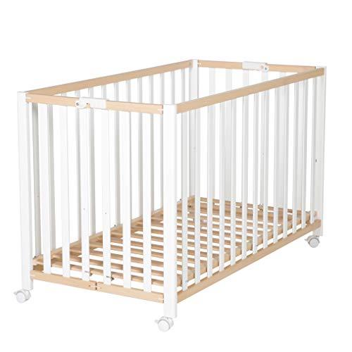roba Klappbett 'Fold Up', Babybett 60x120 cm, Gitterbett Bio Buche natur/weiß, Bettchen 3-fach höhenverstellbar, platzsparendes Kinderbett inkl. Rollen zum Klappen