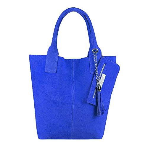 Made in Italy - Bolso de piel para mujer XXL, color azul