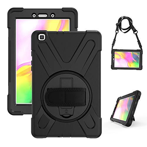 Gerutek Funda Anticaída para Samsung Galaxy Tab A 2019 8  (SM-T290 SM-T295), Carcasa Rugosa con Soporte Rotación, Correa de Mano Hombro, Funda Antichoque para Galaxy Tab A 2019 Tablet 8 - Negro
