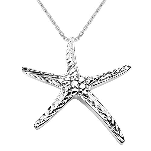 Sea Life Collection Starfish Pendant Necklace in Sterling Silver, 16'