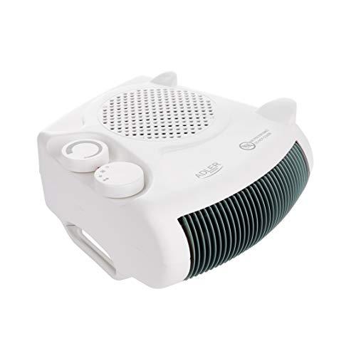ADLER AD 77 Heizlüfter mit 2 Leistungsstufen 1000W / 2000W, Ventilator - kalter Luftzug, Thermostat, für Badezimmer, Kinderzimmer, Wohnmobil, Camping, Garage, klein, weiß