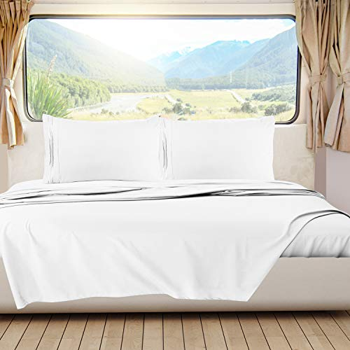Nestl Bedding Short Queen Sheets, RV Sheets Set for Campers, Deep Pockets Fitted RV Bunk Sheets, 4-Piece 1800 Microfiber Bed Sheet Set, Cool & Breathable, RV Queen Sheets, White