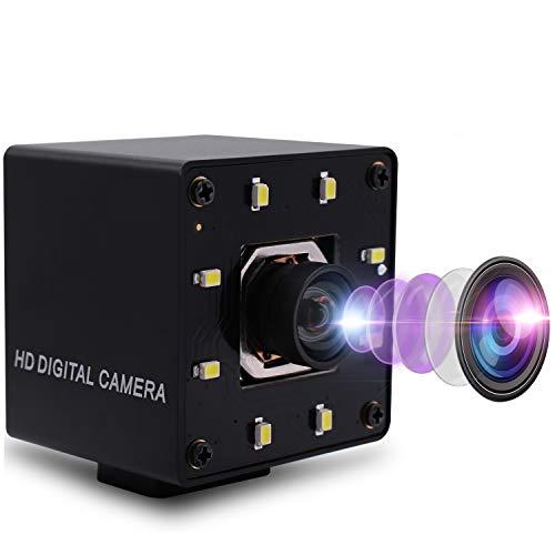 Mermaid 4K Autofokus Webcam USB-Kamera ohne Verzerrungsobjektiv mit 8-teiligen IR-LEDs IMX415 Videoüberwachungs-Webkamera für Bildverarbeitung, 3840 x 2160 @ 30 fps USB mit Kamera