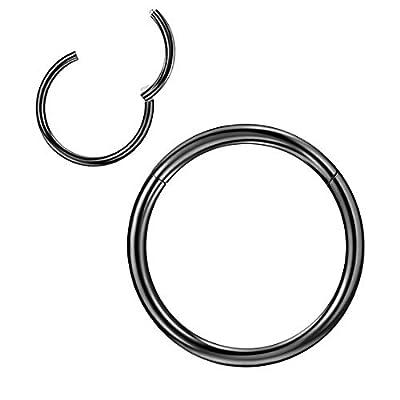 JOFUKIN 10g Hoops 10mm 10 Gauge Hoop Nose Rings for Men Black Nose Ring Hoop Surgical Steel Nose Hoop Hypoallergenic Body Piercing Rings for Lobe Bull Septum Hoop