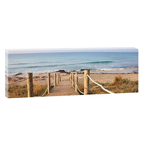 Querfarben Bild auf Leinwand mit Landschaftsmotiv Steg zum Strand   150 x 50 cm, Farbig, Wandbild, Leinwandbild mit Kunstdruck, Nordseebild mit Strandmotiv auf Holzrahmen...