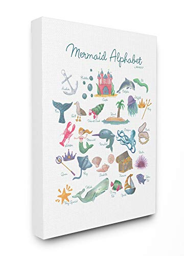 The Kids Room by Stupell Watercolor Mermaid Alphabet with Bubbles Sea Creatures and Anchor Stretched Canvas Wall Art, 16x20, Multi-Color