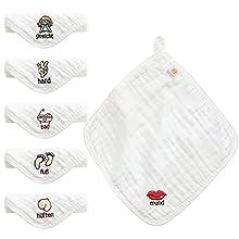 Koo-dib Toalla Facial Infantil, 6 Capas 100% Algodón Suave Absorbente Lavable Toallas Baño Bebé Paños de Muselina, Toallas para Recién Nacido para Piel Sensible,30 * 30 CM