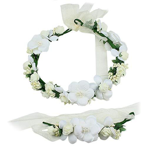 Oyfel Diademe boda corona princesa diadema ajustable conjuntos guirnalda pulsera de flor bohemia floral Hairband Tocado Diadema Cabello para Boda Bridal infantil bebé niñas Mujeres Fiesta accesorios