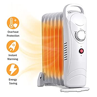 Oil Filled Radiator Heater - Mini Space Heater with Overheat Protection, Adjustable Thermostat, 700W Oil Heater, Electric Heater for Home & Office, Safety Shut-Off Quiet Portable Radiant Heater