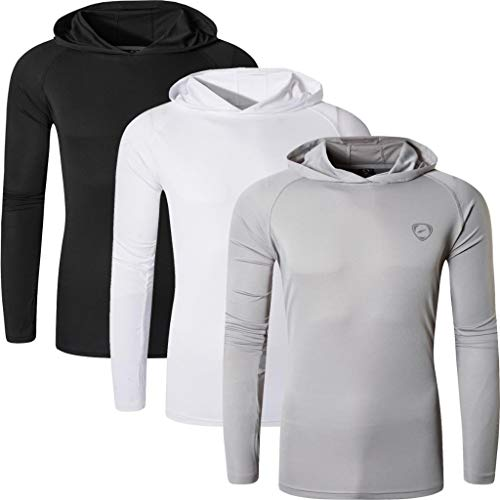 jeansian Homme 3 Packs UPF 50+ UV Protection Solaire Outdoor Sport T-Shirt A Capuche LA271 PackC M