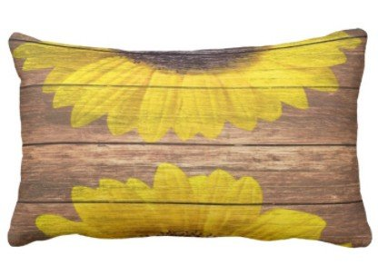 perfecone Home Improvement Funda de almohada de diseño de girasoles amarillos rústicos de madera marrón vintage para sofá y coche, 1 paquete de 19.68 x 35.4 pulgadas / 50 cm x 90 cm