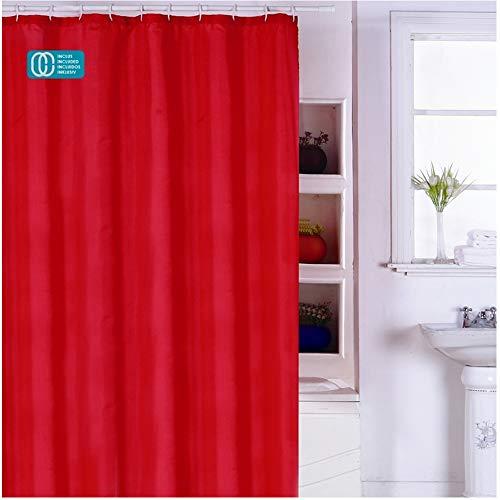 "MSV Anti-Schimmel Duschvorhang - Anti-Bakteriell, waschbar, wasserdicht, mit 12 Duschvorhangringen - Polyester, ""Rot"" 180x200cm"