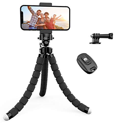 ATUMTEK Flexible Phone Tripod, Adjustable Mini Tripod Camera Travel Tripod with Bluetooth Remote, Universal Clip 360° Rotating Camera Stand Holder for GoPro, iPhone and Android Smartphones
