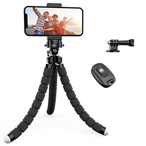 ATUMTEK Mini Trípode, Trípode Móvil Flexible con Bluetooth Control Remoto y Adaptador Smartphone, Piezas Gopro Portátil Trípode con Tornillo 1/4'' para iPhone, Samsung, Huawei, GoPro, Cámara Digital