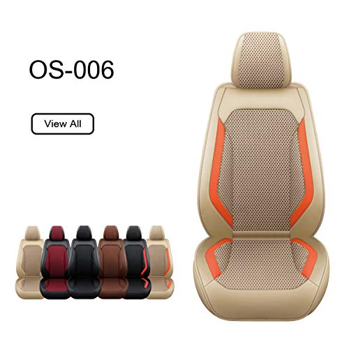 OASIS AUTO Leather Car Seat Covers, Faux Leatherette Automotive Vehicle Cushion Cover for Cars SUV...