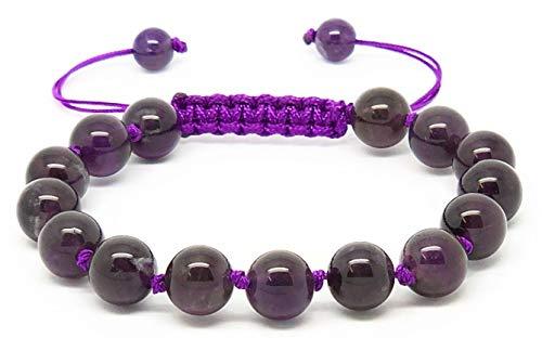 Jiveli cuentas de piedras preciosas 8mm pulsera anudada macramé ajustable - se adapta a niños y adultos - para chakra, reiki, piedra de nacimiento, equilibrio energético