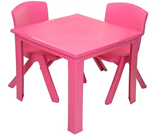 Toddler Children Kids Plastic Table and 2 Chairs Set for Study Activity Indoor or Outdoor Use (Pink)