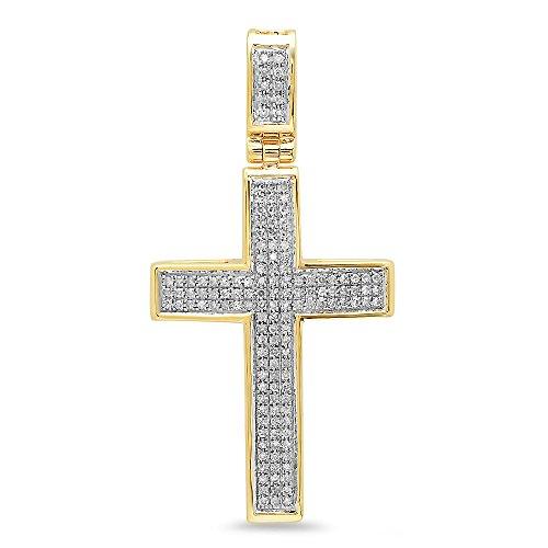Dazzlingrock Collection - Colgante de cruz de oro de 14 quilates (0,48 quilates (ctw) para hombre (cadena de plata incluida)