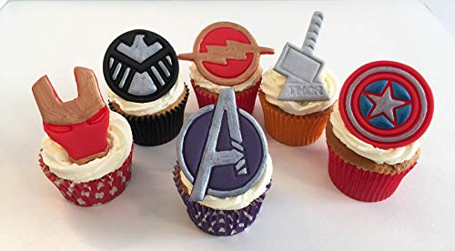 Set of 6 Mixed Marvel Cake Toppers- Avengers Logo, Marvel Shield, Flash, Captain America, Thors Hammer and Ironman Mask