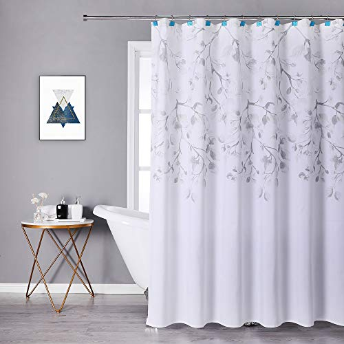 """Central Park Gray Tan Leaf Shower Curtain Water Resistant Decorative Sweeping Floral Print Canvas Bathroom Spa Hotel Shower Curtain with Buttonholes (White, 70""""x72"""")"""