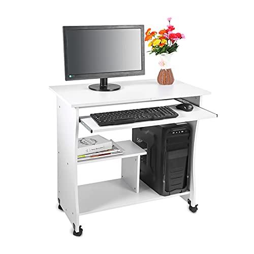 Yosoo scrivania tavolo dell' computer, mobile pc di scrivania compatta mobile porta computer con ruote, portatastiera per ufficio o a casa bianco