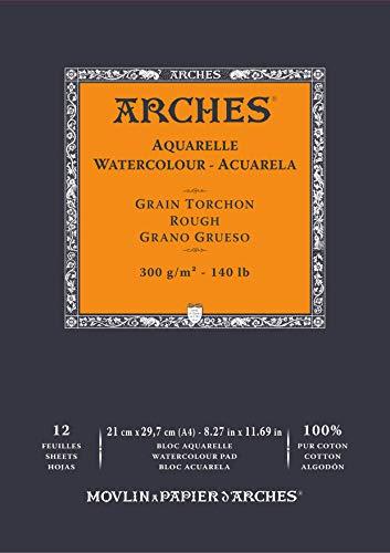 ARCHES Aquarelle 100% Grueso 300g Bloc Encolado A4 12 hojas Blanco Natural, color (A1795101)