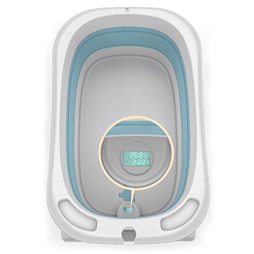 Blcnk Chi Bañera para bebés, Lavabo de Ducha Antideslizante con Sensor de Temperatura en Tiempo Real, Asiento Integrado y reposacabezas Suave, bañera para bebés de 0 a 5 años