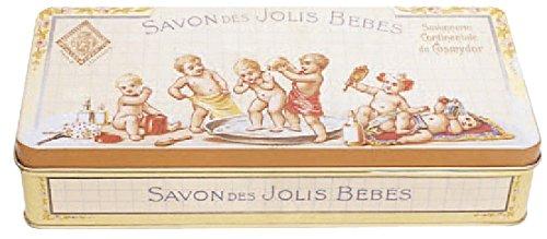French Classics Francia Vintage Caja Decorativa Metal 19x9x4cm JABON DE LOS Lindos Bebes