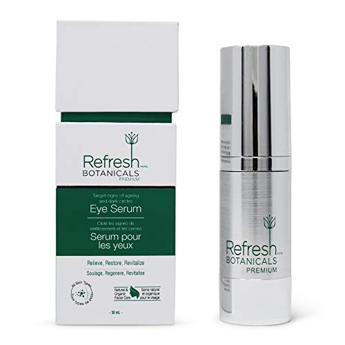 Refresh Botanicals Vitamin C Eye Serum with Hyaluronic Acid Sodium Hyaluronate, Anti Aging, Natural and Organic with Vitamin A | Effective Against Wrinkles, Puffy Eyes, and Dark Circles, 1 Fl Oz