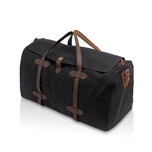 FANDARE Sac à Main Homme/Femme Sac de Voyage Surdimensionné Handbag Outdoor Fitness Sac à Bandoulière Imperméable Toile Noir