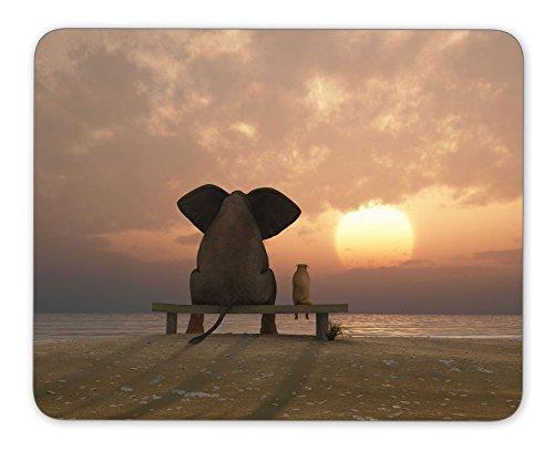 Elefant und Hund sitzen auf dem Büro eine Sommer Strand Mauspad Maus Pad Maus Pad Mäuse Pad Maus Pad Matte Mauspad Mousepad Nonslip Gummirückseite