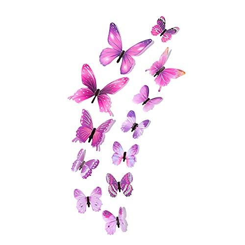 Shruj 12pcs Schlafzimmer Wohnzimmer Dekal Kunst Bunt DIY Tapeten Schmetterlinge Glowing Stickers Stickertjes Leuchtende 3D Butterfly Wall Sticker(Purple)