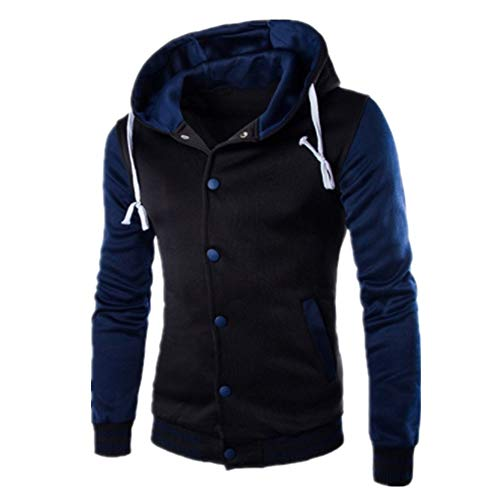 Men Jacket Sweatshirt Hoodie Baseball Jacket Slim Fit Long Sleeve Button Jacket Tracksuits Hooded Outerwear Autumn Winter Warm Sweater Outwear 5XL Navy