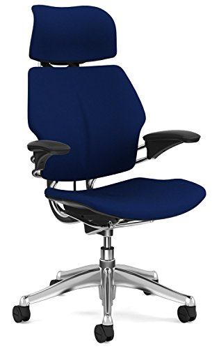 Humanscale Freedom Office Desk Chair with Headrest - Standard Height Adjustable Duron Arms - Aluminum Frame Navy Fabric - Soft Hard Floor Casters