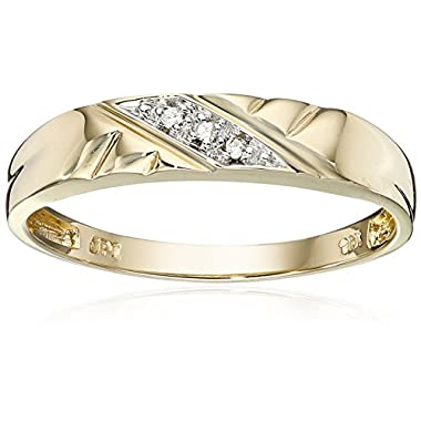 10k Yellow Gold Diagonal Diamond Women's Wedding Band (0.01 cttw, I-J Color, I2-I3 Clarity), Size 8