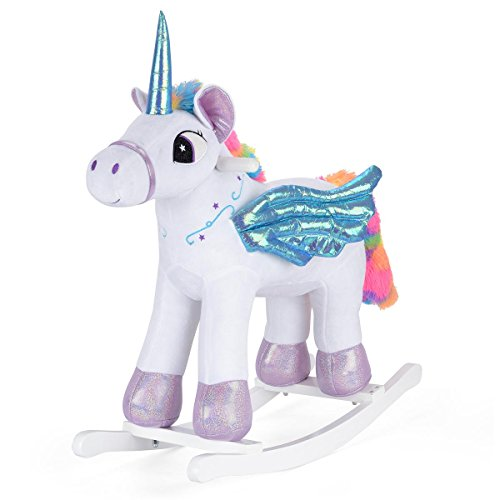 ToyStar Kids Rainbow Rocking Horse Unicorn Toy Plush Sparkly Toddler Rocker