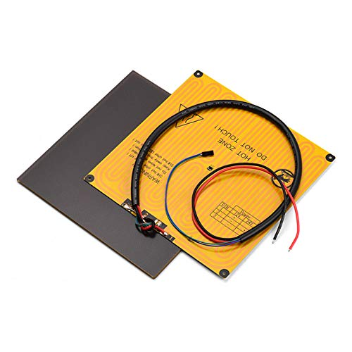 Fesjoy Heated Bed, 220 * 220mm Ultrabase Platform Glass Plate Build Surface + Aluminum Heated bed Hotbed 12V with Wire Cable for A8 A6 for ANYCUBIC I3 Mega for P802M P802E 3D Printer
