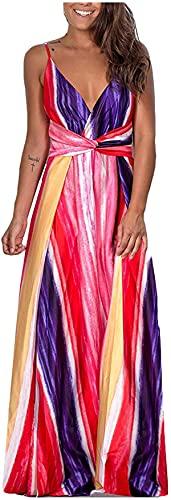 Shiyirishop Summer Dresses for Women,Women's Sleeveless Maxi Dress V Neck Loose Casual Bohemian Cocktail Party Flowy Dresses