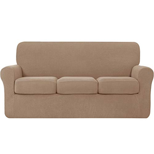 Hokway Couch Cover for 3 Cushion Couch 4-Piece Stretch Sofa Slipcovers with Separate Cushion for 3-Seater Couch Furniture Covers for Kids and Pets in Living Room(Large,Camel)